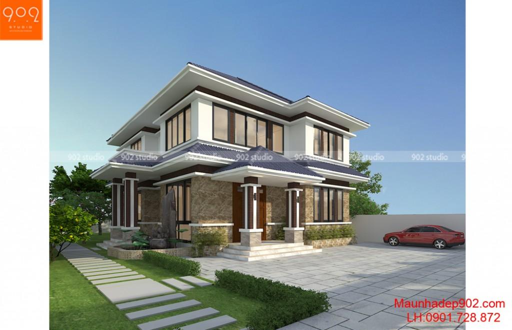 Biệt thự 2 tầng đẹp hiện đại - phối cảnh góc (nguồn: maunhadep902.com)