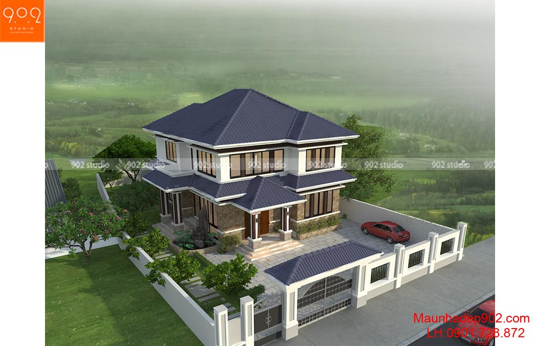 mẫu biệt thự 2 tầng đẹp hiện đại - phối cảnh tổng thể (nguồn: maunhadep902.com)