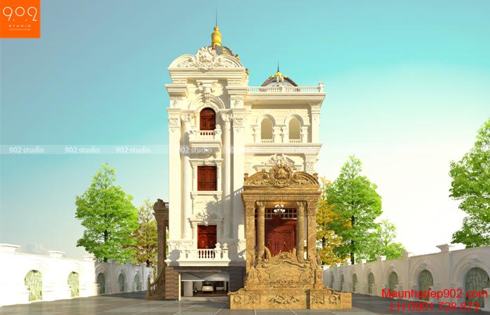 Mẫu biệt thự đẹp 4 tầng tân cổ điển - BT135 (nguồn: maunhadep902.com)