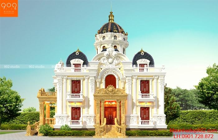 Mẫu biệt thự 2 tầng 1 tum tân cổ điển - phối cảnh mặt tiền - BT140 (nguồn: maunhadep902.com)