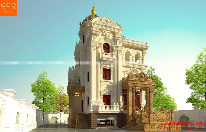 Mẫu biệt thự đẹp 4 tầng tân cổ điển - phối cảnh BT135 (nguồn: maunhadep902.com)