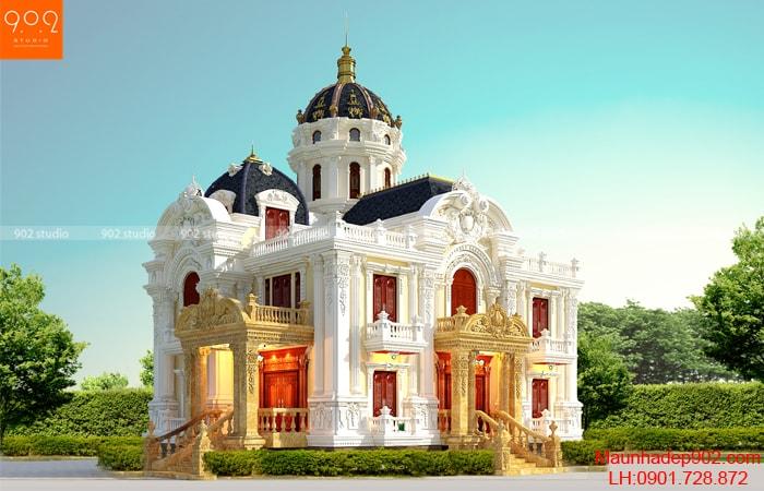 Mẫu biệt thự 2 tầng 1 tum tân cổ điển kiêu sa - phối cảnh góc (nguồn: maunhadep902.com)