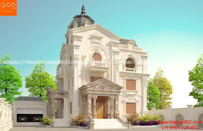 Biệt thự 3 tầng tân cổ điển - BT134 mặt trước (nguồn: maunhadep902.com)