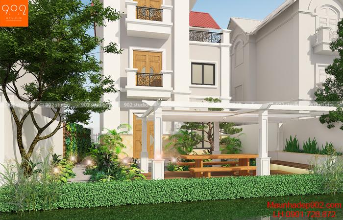 Mẫu nhà biệt thự đẹp -phối cảnh mặt trước (nguồn: maunhadep902.com)