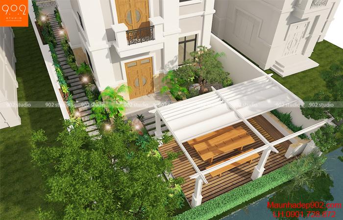 Thiết kế nhà biệt thự đẹp có tầng hầm - Phối cảnh từ trên cao (nguồn: maunhadep902.com)