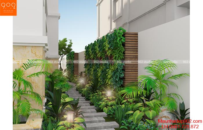 Thiết kế nhà biệt thự đẹp - Tiểu cảnh mặt bên (nguồn: maunhadep902.com)