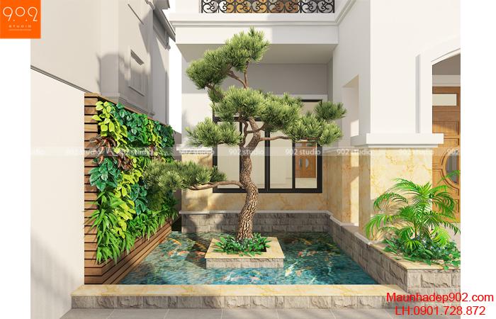 Nhà biệt thự đẹp - Tiểu cảnh sân (nguồn: maunhadep902.com)