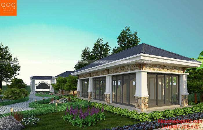 Thiết kế biệt thự nhà vườn cao cấp - phối cảnh ăn ngoài trời (nguồn: maunhadep902.com)