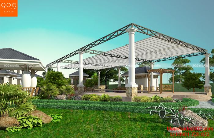 Thiết kế biệt thự nhà vườn cao cấp - phối cảnh bể bơi (nguồn: maunhadep902.com)