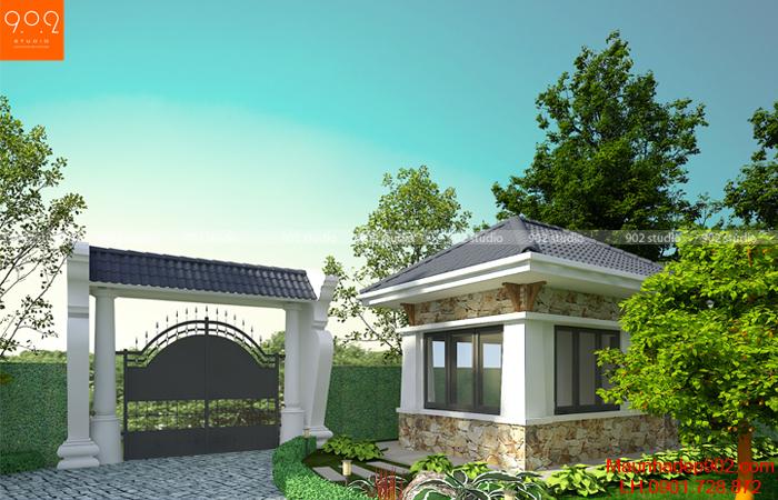Thiết kế biệt thự nhà vườn cao cấp - phối cảnh cổng nhà bảo vệ (nguồn: maunhadep902.com)
