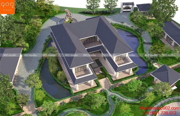 Biệt thự 2 tầng sân vườn - phối cảnh trên cao (nguồn: maunhadep902.com)