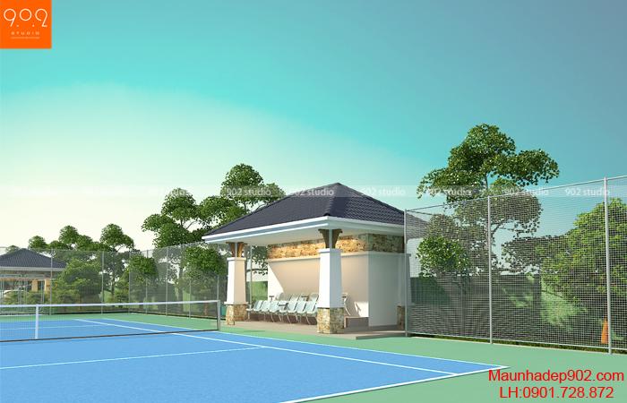 Thiết kế biệt thự nhà vườn cao cấp - phối cảnh sân tenis (nguồn: maunhadep902.com)