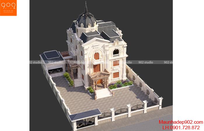 Biệt thự 3 tầng tân cổ điển - BT134 phối cảnh trên cao (nguồn: maunhadep902.com)