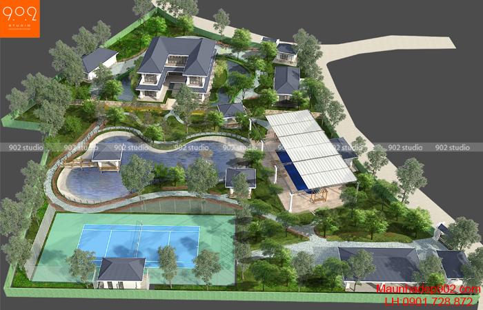 Mẫu thiết kế biệt thự sân vườn cao cấp - BT139 (nguồn: maunhadep902.com)