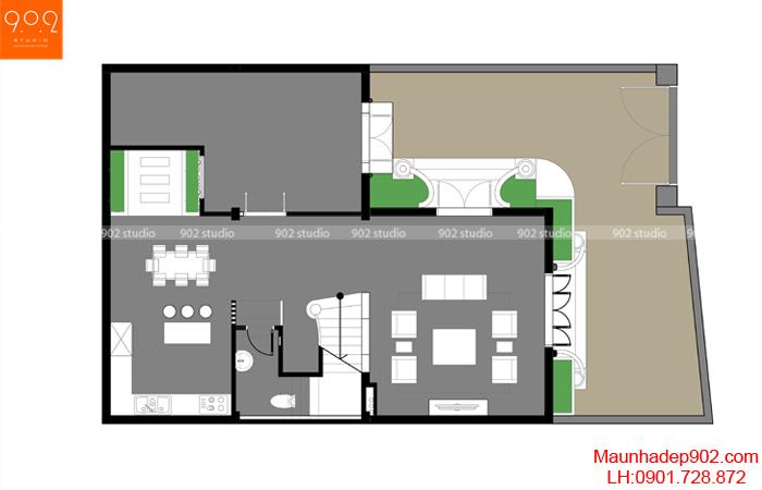 Thiết kế biệt thự 3 tầng kiến trúc tân cổ điển hình chữ L - MB1 (nguồn: maunhadep902.com)