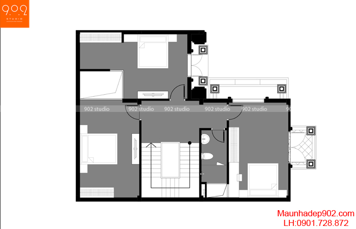 Thiết kế biệt thự 3 tầng kiến trúc tân cổ điển hình chữ L - MB2 (nguồn: maunhadep902.com)