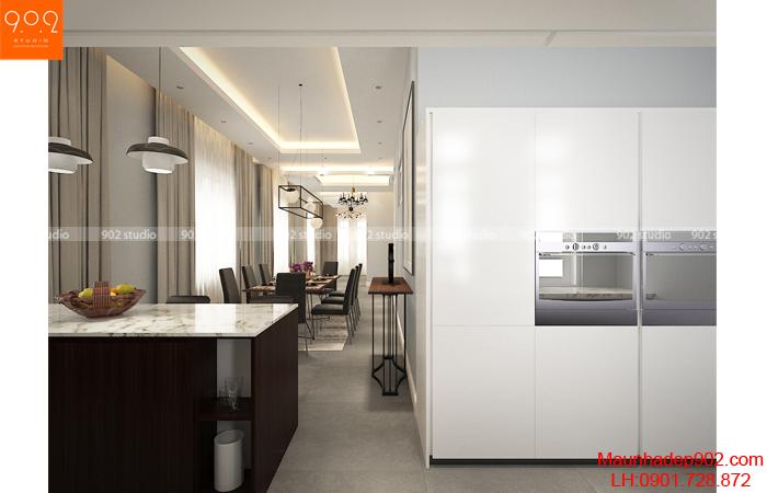 Phòng ăn tối giản của mẫu thiết kế nhà biệt thự đẹp (nguồn: maunhadep902.com)