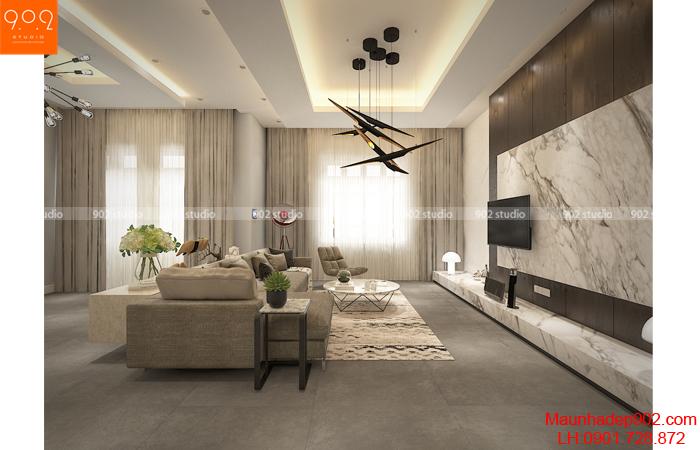 Mẫu thiết kế nội thất nhà biệt thự đẹp - phòng khách (nguồn: maunhadep902.com)