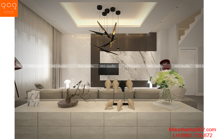 Thiết kế phòng khách của mẫu thiết kế nhà biệt thự đẹp (nguồn: maunhadep902.com)