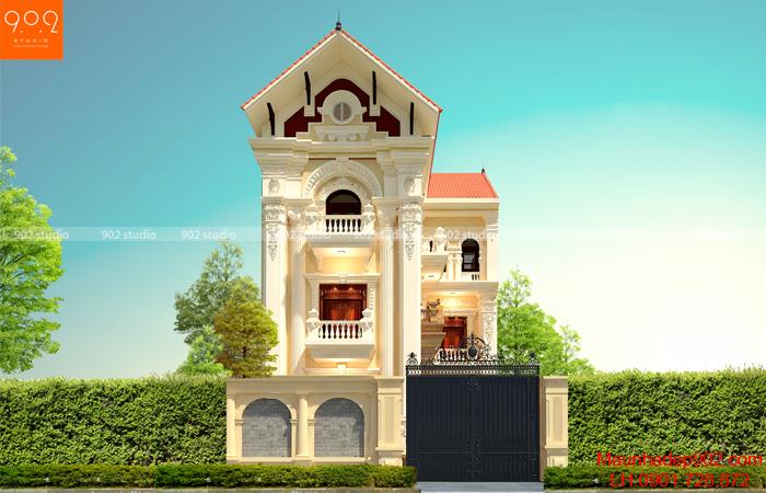 Thiết kế biệt thự 3 tầng kiến trúc tân cổ điển với phong cách nhà chữ L độc đáo (nguồn: maunhadep902.com)