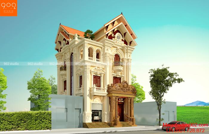 Biệt thự 3 tầng tân cổ điển Pháp - phối cảnh góc (nguồn: maunhadep902.com)