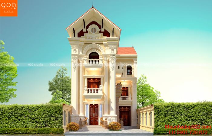 Mẫu biệt thự 3 tầng kiến trúc tân cổ điển - phối cảnh mặt tiền (nguồn: maunhadep902.com)