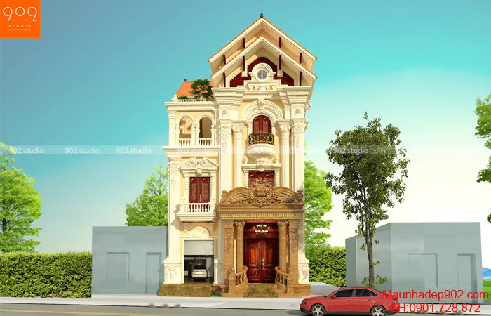 Biệt thự 3 tầng tân cổ điển Pháp - phối cảnh mặt trước (nguồn: maunhadep902.com)