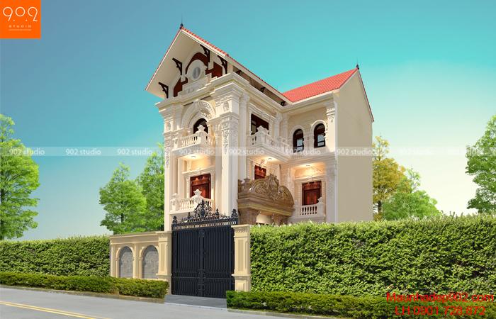 Mẫu biệt thự 3 tầng kiến trúc tân cổ điển - phối cảnh góc (nguồn: maunhadep902.com)