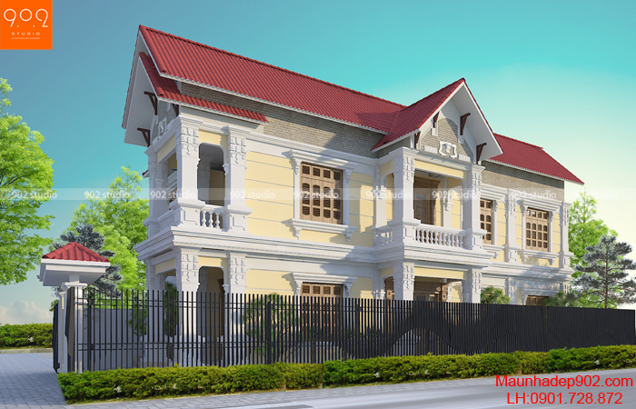 Biệt thự 2 tầng tân cổ điển đẹp - Phối cảnh mặt bên (nguồn: maunhadep902.com)