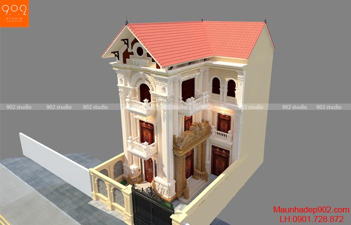 Thiết kế biệt thự 3 tầng kiến trúc tân cổ điển - phối cảnh trên cao (nguồn: maunhadep902.com)