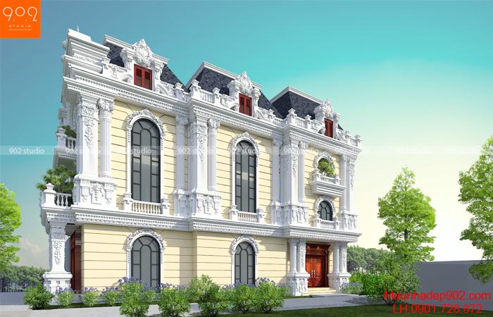 Biệt thự 3 tầng phong cách tân cổ điển - Phối cảnh mặt bên (nguồn: maunhadep902.com)
