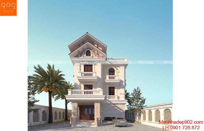 Biệt thự 3 tầng phong cách tân cổ điển có thiết kế đơn giản điển hình cho xu hướng đẹp nhất 2017 (nguồn: maunhadep902.com)