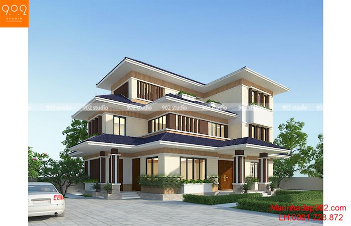 Biệt thự 3 tầng hiện đại tại Hải Dương - Phối cảnh 2 (nguồn: maunhadep902.com)