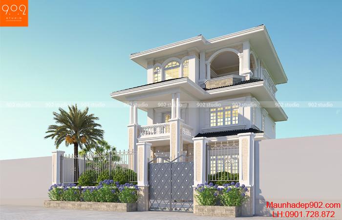 Mẫu biệt thự phố 3 tầng diện tích 10 x 19.5m2 - Phối cảnh 2 (nguồn: maunhadep902.com)