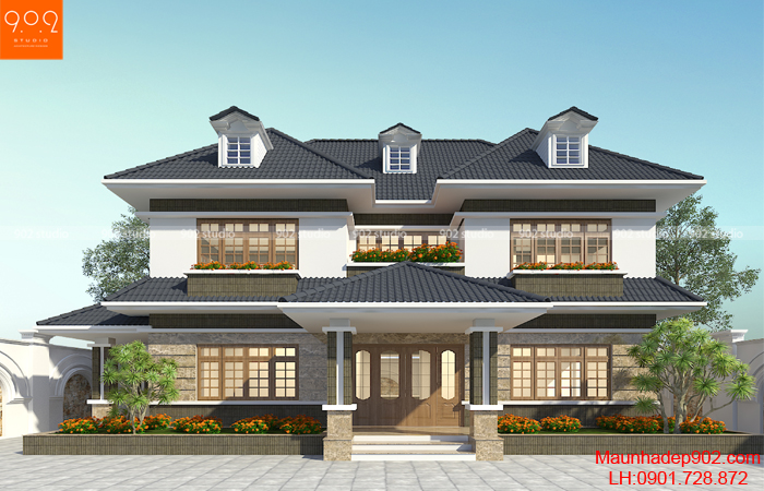 Biệt thự 2 tầng hiện đại gia đình anh Minh ở Hà Nội – Phối cảnh 1 (nguồn: maunhadep902.com) gia đình anh Minh ở Hà Nội – Phối cảnh 1 (nguồn: maunhadep902.com)