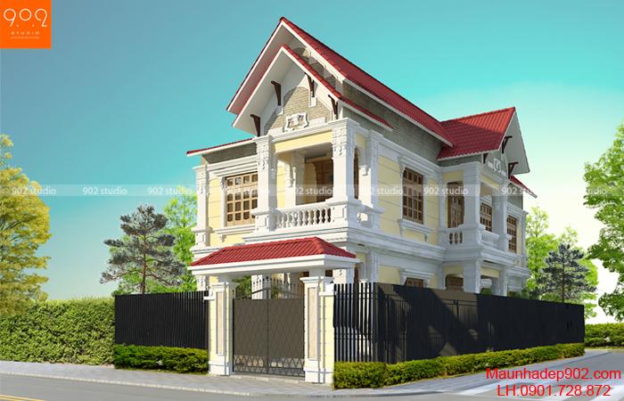 Biệt thự 2 tầng tân cổ điển đẹp nhà anh Phan tại Hà Nam – Phối cảnh 1 (nguồn: maunhadep902.com)