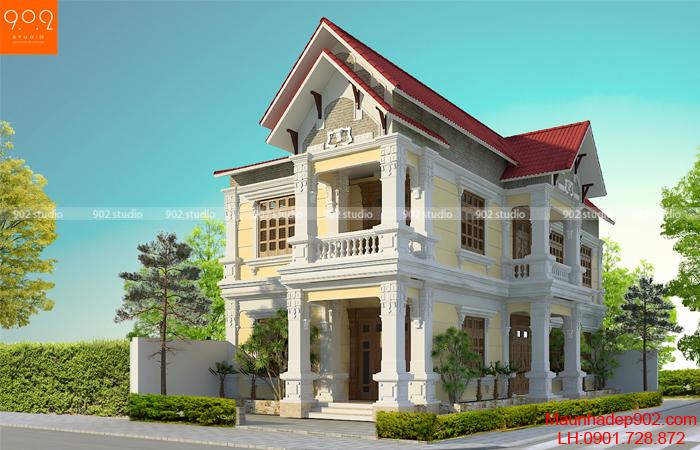 Biệt thự 2 tầng tân cổ điển đẹp nhà anh Phan tại Hà Nam – Phối cảnh 2 (nguồn: maunhadep902.com)