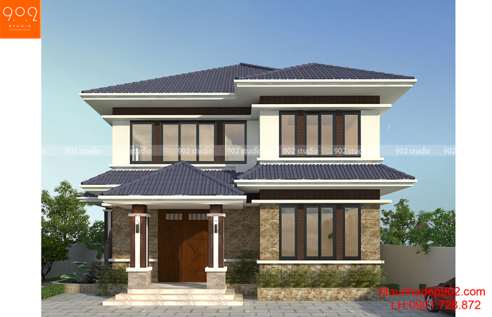 Biệt thự 2 tầng hiện đạ nhà anh Lân ( Vĩnh Phúc) – Phối cảnh 1 (nguồn: maunhadep902.com)