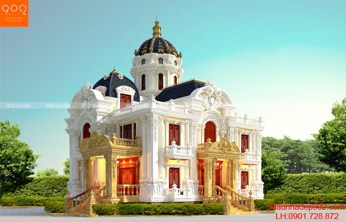 Biệt thự đẹp 2 tầng 1 tum cổ điển mặt tiền đẹp và độc nhất theo xu hướng thiết kế 2017 (nguồn: maunhadep902.com)