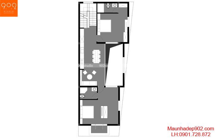 Mặt bằng tầng 2 mẫu biệt thự đẹp (nguồn: maunhadep902.com)