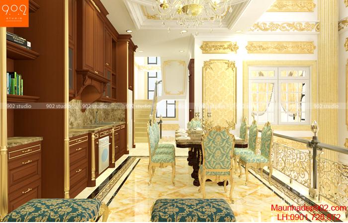 Mẫu thiết kế nội thất phòng bếp sang trọng ấm cúng(nguồn: maunhadep902.com)