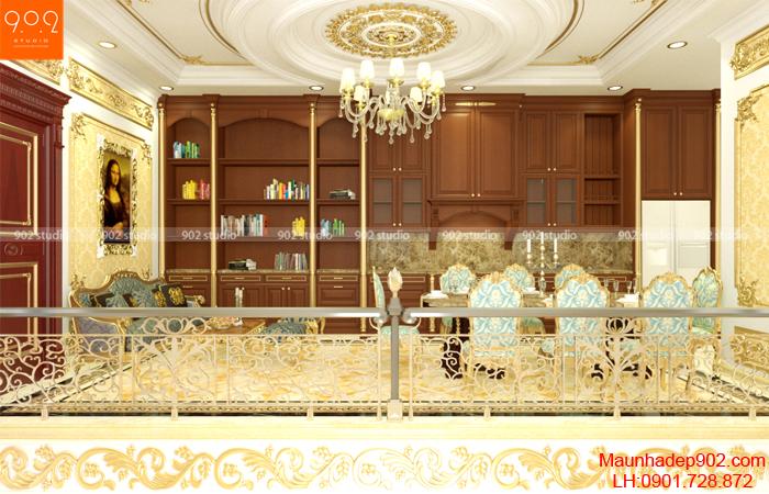 Phòng đọc sách được liên thông với phòng bếp ăn (nguồn: maunhadep902.com)