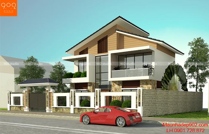 Biệt thự 2 tầng nhỏ xinh hiện đại (nguồn: maunhadep902.com)