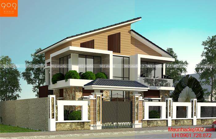 Kiến trúc hiện đại với hệ mái dốc (nguồn: maunhadep902.com)