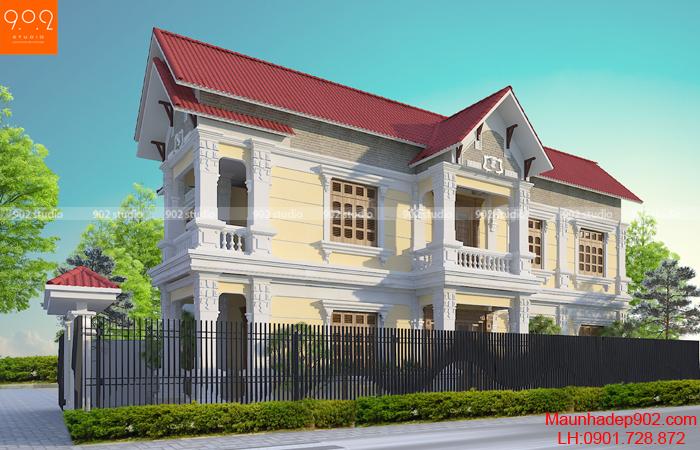Kiến trúc 2 tầng với hệ mái thái đẹp (nguồn: maunhadep902.com)