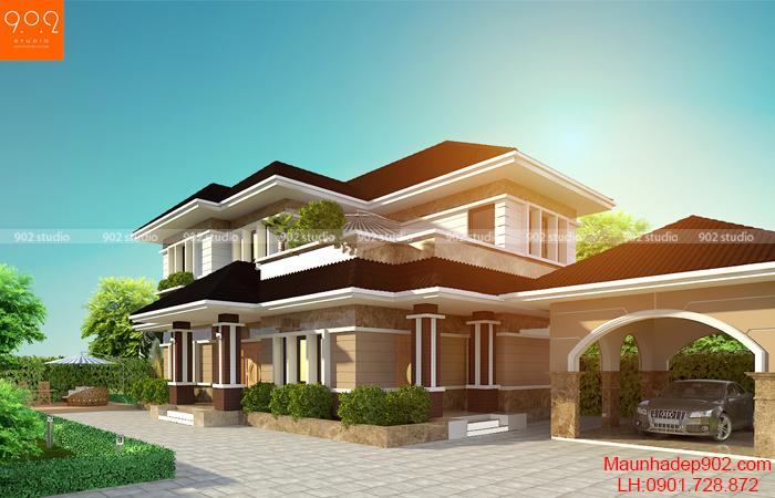 Mẫu biệt thự 2 tầng kiến trúc hiện đại- Phối cảnh mặt bên (nguồn: maunhadep902.com)