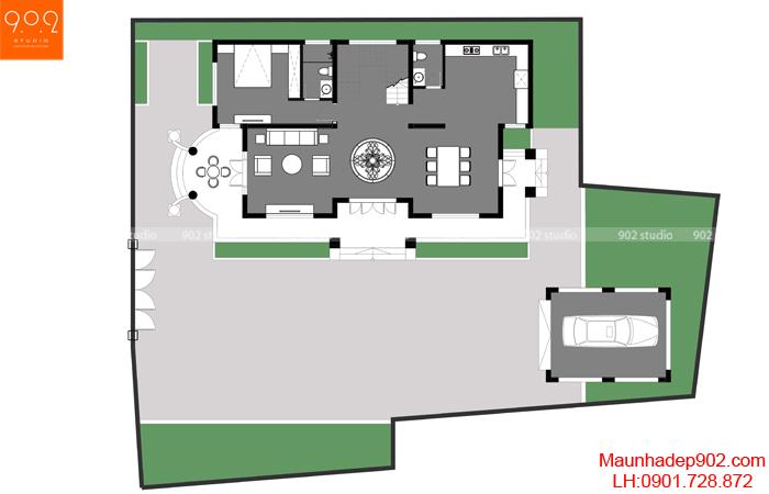 Thiết kế biệt thự 2 tầng đẹp - MB1 (nguồn: maunhadep902.com)