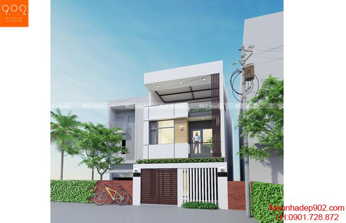 Mẫu nhà phố 3 tầng mái bằng - phối cảnh (nguồn: maunhadep902.com)