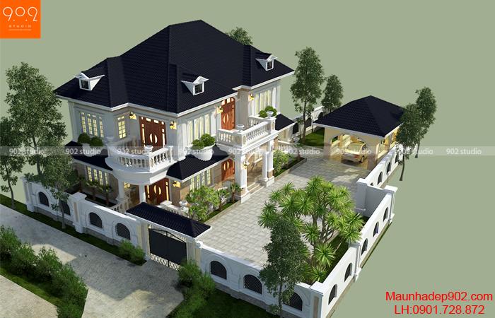 Thiết kế biệt thự 2 tầng sang trọng 500m2 (nguồn: maunhadep902.com)