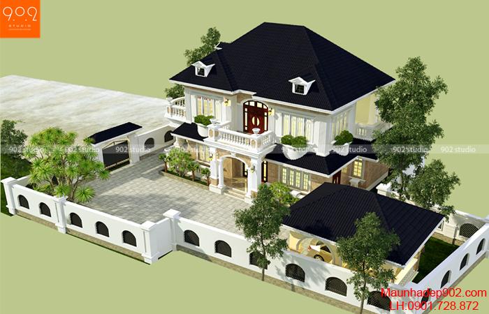 Mẫu biệt thự 2 tầng sang trọng 4 phòng ngủ xây dựng theo phong cách tân cổ điển (nguồn: maunhadep902.com)